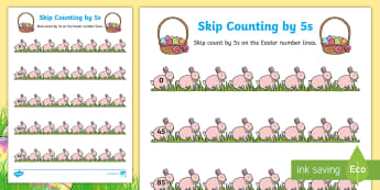 Easter Skip Counting by 5s Activity Sheet - Australia Easter Maths, easter, australia, mathematics, skip counting, counting by 5s, KS1, number l