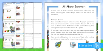 All about Summer Differentiated Comprehension Go Respond  Activity Sheets - summer, summer season, first day of summer, summertime, summer celebration, reading comprehension