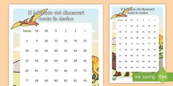 Tabella dei numeri dei dinosauri  conta in decine Attività - contare, numeri, matematica, decine, untià, valore, posizionale, dinosauri, italiano, italian, mate