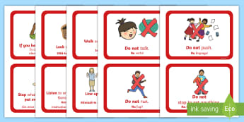 Fire Alarm Instructions Cards English/Romanian - Fire Alarm Instructions Cards Sentences - fire alarm, instruction, sentance, setence, sentnces, eal