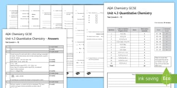 AQA Chemistry Unit 4.3 Quantitative Chemistry Test - KS4 Assessment, Test, chemistry, gcse, mole, moles, calculations, equation, formula, gas volume, emp