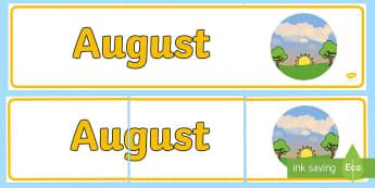 August Banner - lunile anului, decorul clasei, activități, panoul clasei, activități lunare,Romanian