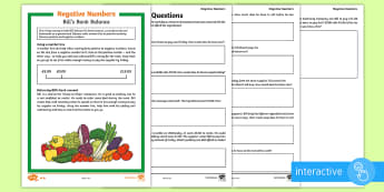 UKS2  Negative Numbers Differentiated Go Respond Activity Sheets - KS2, Y5, Y6, differentiated, maths, negative numbers, count forwards, count backwards, through zero,