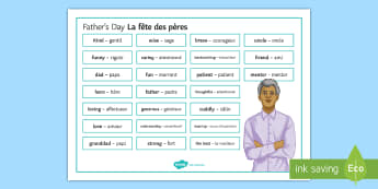 Father's Day Word Mat English/French - Father's Day, fête, pères, word, mat, vocabulary, support, key, spelling, reference, writing, tas