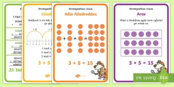 Posteri Arddangos Strategaethau Lluosi - grwpio, lluosi, ailadrodd, rhannu, multiply, addition, repeated addition, divide.,Welsh