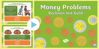 Euro Money Problem Task Setter PowerPoint English/German - Euro, money, quantities, input, plenary, EAL, German, English-German