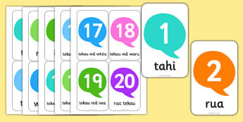 Numbers 1-20 Flash Cards Te Reo Māori - nz, new zealand, te reo māori, māori, flash cards, numbers, 1, 20