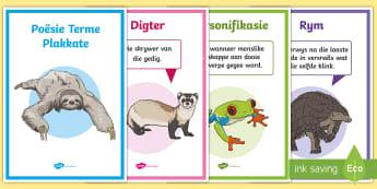 Poësie Terme Plakkate  - Afrikaans Taal Reëls, poësie terme, plakkate, taalstrukture