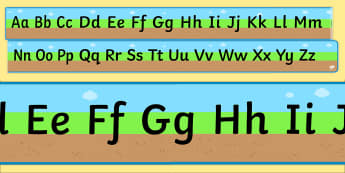 Ground Grass Sky Upper and Lowercase Alphabet Strip - alphabet