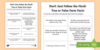 Don't Just Follow the Flock! True or False Farm Facts Activity - Northern Ireland, Balmoral Show, 10th-13th May, Farming, Agriculture, Key Stage 1, true, false, fact