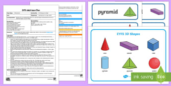 EYFS I'm Thinking of a Shape Adult Input Plan and Resource Pack - Beginning to use mathematical names for 'solid' 3D shapes , and mathematical terms to describe s