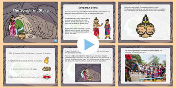 The Story of Songkran PowerPoint - Thailand Songkran Festival 13th April, songkran, Thailand, Thai, festival, story, information, power