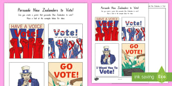 Persuade New Zealanders to Vote Poster Activity  - New Zealand, 2017 Elections, Government, National, Greens, Labour, New Zealand First, Parliament, Ma