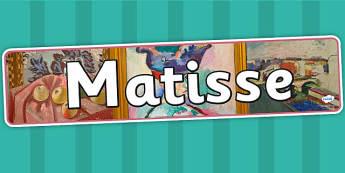 Matisse Display Banner - art, artist, header, display, design