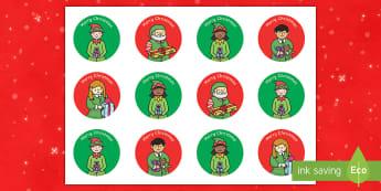 Merry Christmas Elf Stickers - Christmas, Nativity, Jesus, xmas, Xmas, Father Christmas, Santa, St Nic, Saint Nicholas, traditions,