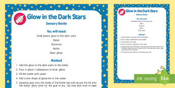 Glow in the Dark Stars Sensory Bottle - Light and Dark, space, star, galaxy, alien, glowing, calming, calm down