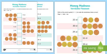 Euro Money Madness Activity Sheets English/German - EU, coins, Europe, EAL, German, English-German, worksheet,