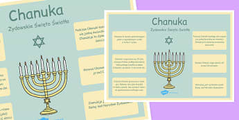 Duży plakat informacyjny Chanuka po polsku - religia, judaizm , Polish