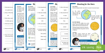 KS1 Planets and the Solar System Differentiated Reading Comprehension Activity - Back to Earth with a Bump, space, planets, night and day, dark, sun, Mars, moon, stories, picture bo