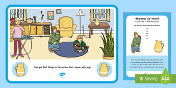 Find the Rhyme 'ug' Poster - Phase 1 Aspect 4: Rhythm and Rhyme, letters and sounds, phonics, rhymes, rhyming, -ug