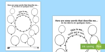 Words That Describe Me Activity Sheet English/French -  EAL translation, worksheet, Writing Frame ourselves, transition, Nursery reception pre-school new c