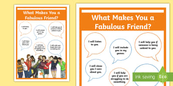 What Makes a Fabulous Friend? Large Display Poster - PSHCE, transition, young people, emotions, bullying, display