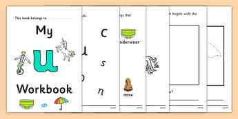 My Workbook u lowercase - workbook, u sound, lowercase, letters, alphabet, activity, handwriting, writing