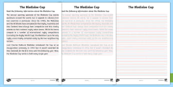 3-6 Bledisloe Cup Handwriting Activity Sheet - bledisloe cup, rugby, handwriting, literacy, australia, new zealand, worksheet
