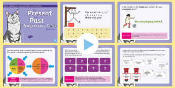 Year 2 Present and Past Progressive Tense Warm-Up PowerPoint - KS1 Spelling, Punctuation & Grammar Warm-Up PowerPoints, warm-up, warm up, warm, up, powerpoint, spa