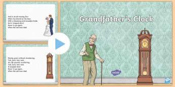 Grandfather's Clock Song PowerPoint - song, singing, granda, grandad, grandfather, grandparent's day, music,Irish
