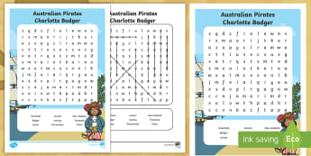 Australian Pirates - Charlotte Badger Word Search - Australian Curriculum,History, Convicts, F-2, Maori, Tasmania, Parramatta