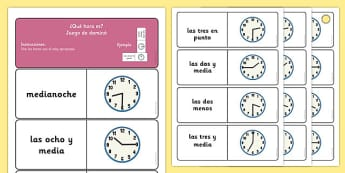 Telling the Time Dominoes Spanish - time, spanish, espanol, spain, EAL, clocks, analogue, half past, o'clock, quarter to, quarter past