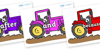 Connectives on Tractors - Connectives, VCOP, connective resources, connectives display words, connective displays