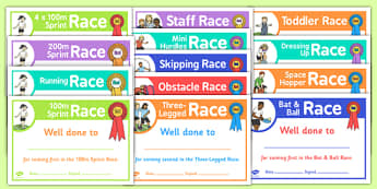 Sports Day Running Race Certificates - sprint, competition, track, run, award, medal, first, second, third