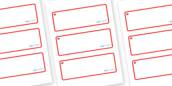 Ruby Red Themed Editable Drawer-Peg-Name Labels (Blank) - Themed Classroom Label Templates, Resource Labels, Name Labels, Editable Labels, Drawer Labels, Coat Peg Labels, Peg Label, KS1 Labels, Foundation Labels, Foundation Stage Labels, Teaching Lab