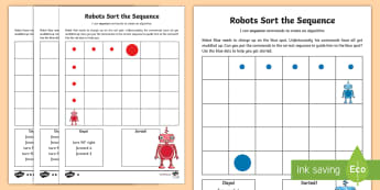 Robots Sort the Sequence Activity Sheet - KS2, curriculum aims, computing, program, algorithm, sequence, commands, plan, predict, coding, reor