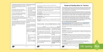 Reciprocal Reading Notes for Teachers - reading, literacy, guided reading, understanding, evaluating, read, finding and using information, b