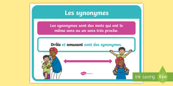 Affiche : Les synonymes - Cycle 1, cycle 2, cycle 3, organisation de la classe, classroom organisation, poster, display, affic