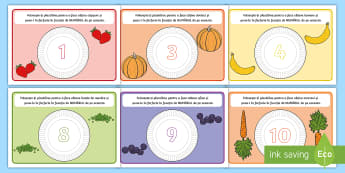 Numerație pe tema alimentației sănătoase Planșete pentru modelajul cu plastilina - motricitate fină, alimente, fructe, legume, alimente, numărăm, Romanian