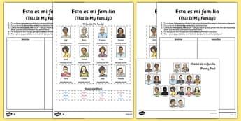 Esta es mi familia Spanish Activity Sheet - spanish, esta es mi familia, activity, worksheet