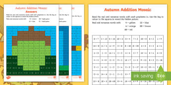 KS1 Autumn Addition and Subtraction Mosaic Activity Sheets - Solve, Work out, Questions, Numeracy, Puzzle, worksheets