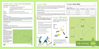 Rounders 1: Fielding Skills Lesson Ideas - rounders, striking, fielding, bat, fielder, backstop, bowler
