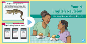 Year 4 English Revision Morning Starter Weekly PowerPoint Pack 3 - y4, Spag, Reading, Writing, Sentences, Filler, morning task,