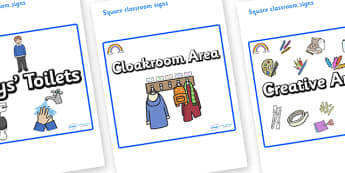 Rainbow Themed Editable Square Classroom Area Signs (Plain) - Themed Classroom Area Signs, KS1, Banner, Foundation Stage Area Signs, Classroom labels, Area labels, Area Signs, Classroom Areas, Poster, Display, Areas