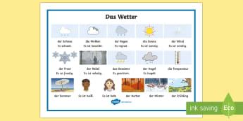 Weather Word Mat German - Weather, Seasons, German, Wetter