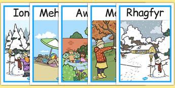 Months Of The Year Seasons Posters Cymraeg - cymraeg, months, year, seasons, display, posters