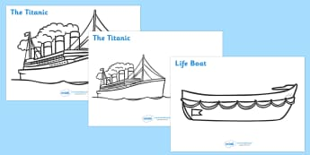 The Titanic Colouring Posters - The Titanic, resources, colouring, fine motor skills, poster, worksheet, Iceberg, Ship, Liner, White Star Line, disaster, New York, sink, lifeboat, boat, captain, survivors