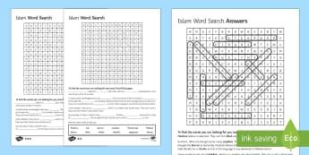 Islamic Beliefs Key Words Differentiated Word Search - Islamic Beliefs GCSE Material, islam, gcse rs activities, re