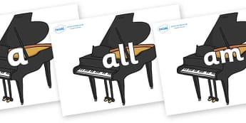 Foundation Stage 2 Keywords on Baby Grand Pianos - FS2, CLL, keywords, Communication language and literacy,  Display, Key words, high frequency words, foundation stage literacy, DfES Letters and Sounds, Letters and Sounds, spelling