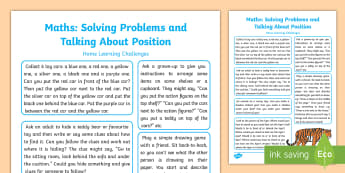 EYFS Maths:  Use Everyday Language to Talk about Position and Solve Problems Home Learning Challenges - EYFS solves problems, positional language, uses positions, describes positions, talks about position